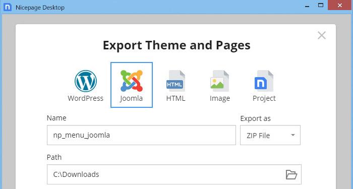 Options d'exportation